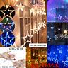 LED Star Curtain String Lights 12 Stars 138 LEDs Window Icicle DIY Wedding Xmas