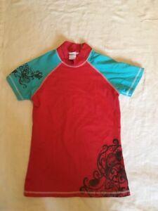 Body Glove Girls/Junior Women's Red & Blue Rash & Sun Guard Size M Swim Shirt D3