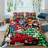 3D Cartoon Anime Graffiti Duvet Cover Bedding Comforter Cover PillowCase