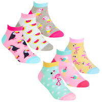 Girls 6 Pairs Tropical Print Trainer Cotton Rich socks sz 6-8 9-12 12-3 Age 2-10