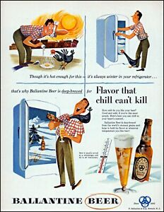 1953 Ballantine Beer frying egg chicken ice freezer vintage art print Ad adl74