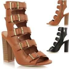 Ladies Block Mid Heel Peep Toe Buckle Trim Strappy Calf Ankle Sandals Shoes