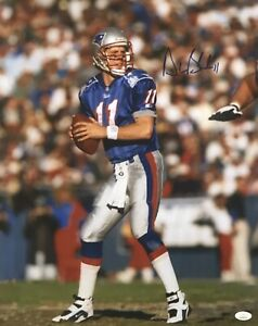 Drew Bledsoe New England Patriots QB #11 Autographed 16x20 Pose #5 JSA Witnessed