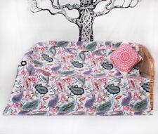 Floral Kantha Quilts Handmade Throw Cotton Bedspreads