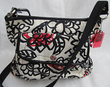 Coach Medium White Black Red Poppy Graffiti Daisy Crossbody Messenger Bag Tote