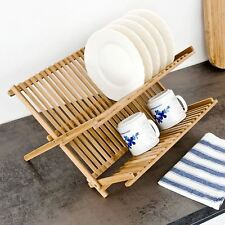 Large Wooden 2 Tier Foldable Wooden Kitchen Dish Rack Drainer Plate Cup Holder