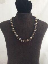 "Kaari Meng Designs Nyc Cute Bronze Tone Beaded Necklace Freshwater Pearls 16"""