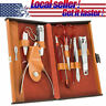 RC Collection Deluxe 10 Piece Manicure Set with Leather Carrying Case New US