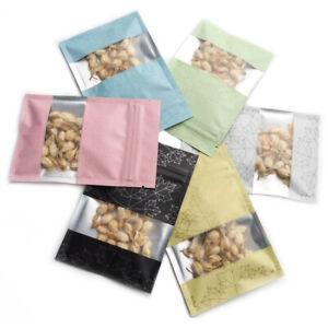 Aluminum Foil Zip Bags Mylar Heat Seal Food Packaging Lock Pouch w/Clear Window