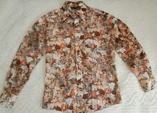 Rare Vintage 1970s Chemise Playboy Ladies Pin Up Shirt Large Disco 70s Button-Up