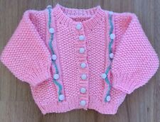 """Pink Baby Girls Hand Knitted Cardigan Age 3-6 Months 20"""" Chest long Sleeve"""