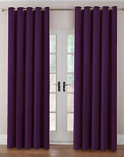 THERMAL VELOUR VELVET PLAIN DYED RING TOP CURTAINS IN MULTIPLE COLOURS