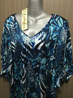BNWT Womens Sz 16 Autograph Brand Blue Print Silky Open Sleeve Tunic Top RRP $60
