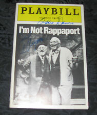 Signed Playbill I'M NOT RAPPAPORT Jack Klugman, Ossie Davis, Booth Theatre, 1987