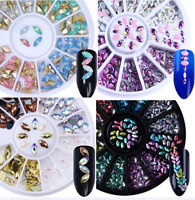 3D Marquise Nail Art Studs Rhinestones Decoration in Wheels Holo  Tips