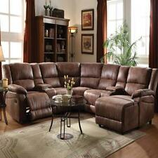 Living Room Full Reclining Home Theater Set Two Toned Brown Couch Console Chair