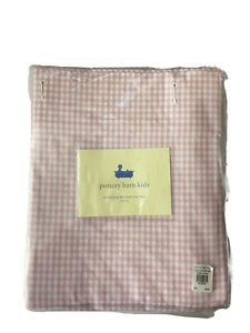 New Pottery Barn Kids Gingham Checked Shower Curtain Pink White Plaid