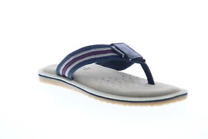 Geox U Artie B Mens Blue Leather Slip On Flip-Flops Sandals Shoes 7