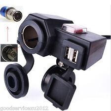 Multifunction 5V 2.1A Motorcycle Cigarette Lighter Dual USB Socket Phone Charger