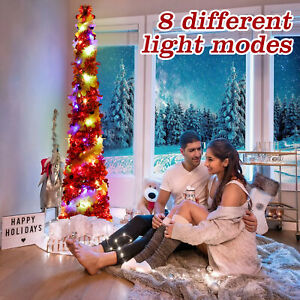 5FT Pop up Tinsel Christmas Tree with 60 Led Color Lights 8 Modes (White & Red)