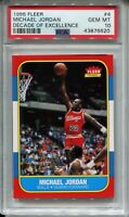1986 Fleer Basketball Michael Jordan Rookie Card PSA 10 Replicate 1996 Decade