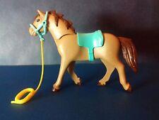 PLAYMOBIL Western - cheval indien 3è génération, marron couverture bleu ciel