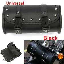 Black Universal PU Leather Motorcycle Sissy Bar Saddle Bag Tool Luggage Bag