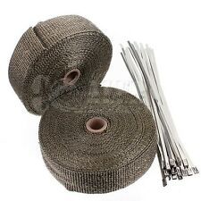 "2 Titanium Exhaust/Header Heat Wrap 1"" x 50' Roll with Stainless Steel Ties NEW"
