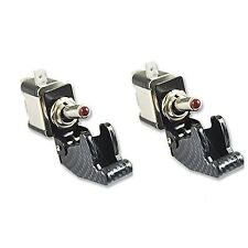2X Red LED Illuminated Carbon Fiber Toggle Switch Control 12V For Car Motor SPST