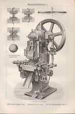 Lithografie 1910: Massen-Fabrikation. einarmige Exzenter-Presse Fabrik Revolver-