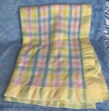 Beacon pastel plaid woven thermal satin edged baby crib blanket pink blue yellow