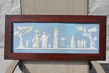 Prodigious Wedgwood Blue Jasper Ware Sacrifice Figures Framed Plaque (c.1790)
