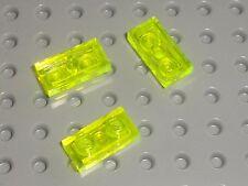 3 x plaques plates LEGO TrNeonGreen 1x2 ref 3023 / Set 7180 6455 6977 6979 4560