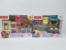 Fisher-Price Loving Family Bathroom and Kitchen sets lot New