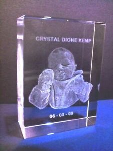 PERSONALIZED CRYSTAL  LASER PHOTO ENGRAVED GIFT KIDS FAMILY PETS 2D-3D S11