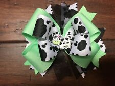 Mint Green Cow Print Ribbon Stacked Boutique Hair Bow Girl Cowgirl Moo Cow