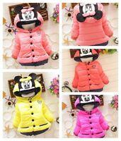 Toddler Kids Girls Baby Winter Cotton Minnie Hooded Cartoon Coat Jacket Clothes