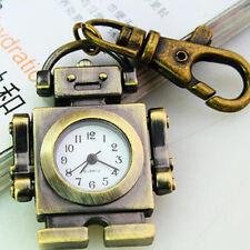 Steampunk Cute Gift Bronze Robot Quartz Pocket Watch Charm Key Chain MXT