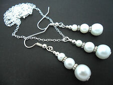 A WHITE GLASS PEARL WEDDING BRIDESMAID   NECKLACE AND EARRING SET. NEW.