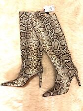 ZARA Snake Print Leather High Heeled Pointed Knee High Boots Size 5 38 BNWT