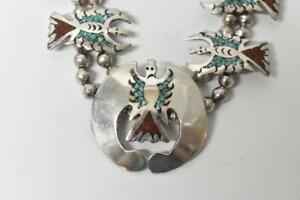Vintage Sterling Turquoise & Coral Necklace 173.5 Grams