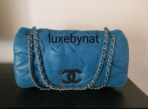 Chanel flap bag blue calf leather silver hardware