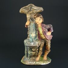 "Italian Venetian Painted Plaster Figurine ""Young Boy at the Fountain"""
