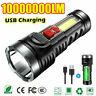 10000000LM Taschenlampe LED Leuchtweite Militär Taktische USB Wiederaufladbar