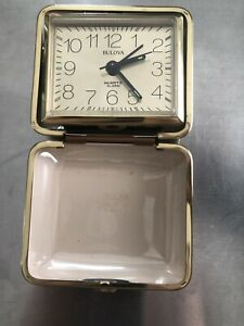 Vintage Bulova Brown Travel Alarm Clock Quartz in Box #paintedpansies C9