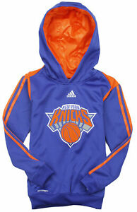 Adidas NBA Youth New York Knicks On Court Pullover Sweatshirt Hoodie, Blue