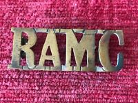 WW1 Royal Army Medical Corps RAMC Brass Shoulder Title Badge Genuine  ST/10