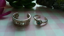 2 Beautiful Xoxo Blue Rhinestone Toe Rings Real Sterling Silver*Size3 Adjust*4S