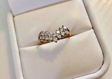 Ladies Fully Hallmarked 9 Carat Gold Pretty White Zirconia Dress Ring - Size M