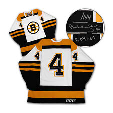 Bobby Orr Boston Bruins Firmado & inscrito Rookie of the Year Jersey #/144 Gnr